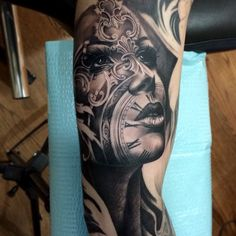 Did this one yesterday! Finishing up the sleeve today! #face #tattoo #blackandgrey #morph #clock #swashdrive #tonymancia