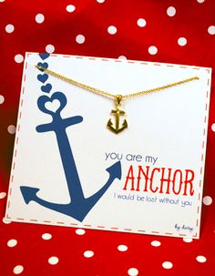 "Anchor Necklace ""You are my anchor""- nautical wedding ""will you be my bridesmaid"" gift"