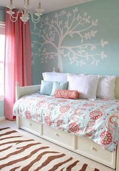 Contemporary girl room design ideas with small bed and stunning wallpaper