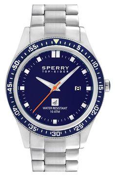 Sperry Top-Sider® 'Navigator' Bracelet Watch, 44mm | Nordstrom