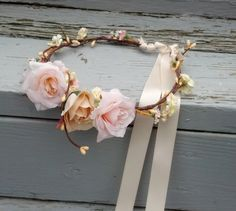 Blush peach pink Flower crown Bridal party flower girl halo hair wreath Rustic Chic circlet wedding accessories headpiece Woodland
