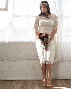 Kiyonna Womens Plus Size Aurora Lace Wedding Dress - Sample Sale Wedding Dress Over 40, Short Lace Wedding Dress, Civil Wedding Dresses, Wedding Dresses Plus Size, Plus Size Wedding, Bridal Dresses, Plus Size Elopement Dress, 2nd Marriage Wedding Dress, Civil Ceremony Wedding Dress