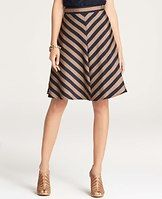"""Regents Striped Skirt - Get in line: playful silhouettes and fuller lengths mingle with bold stripes and luxe color. Hidden side zipper with hook-and-eye closure. Lined. 23"""" long."""