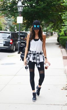 athletic street style, black mesh workout leggings, flannel, mirrored sunglasses