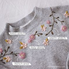 Hand Embroidery Patterns Flowers, Basic Embroidery Stitches, Embroidery Flowers Pattern, Hand Embroidery Videos, Shirt Embroidery, Embroidery Fashion, Embroidery Techniques, Simple Flower Embroidery Designs, Towel Embroidery