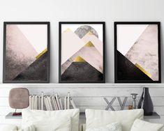 Set of 3 Prints, Print Set 3, Mountains, Blush, Pink, Gold, Scandinavian Art, Geometric, triptych, Minimalist Poster, Instant Download