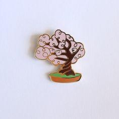 Cherry Blossom Bonsai Tree Enamel Pin Plant by shinyapplestudio