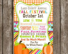 Fall Festival Harvest Invitation Poster / Pumpkin Patch Farm ...