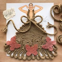 Rope couture  Dress made out of rope and butterflies out of hay. I love this one so much.❤ Hope you like it as well.