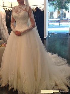 White Ivory Sheer Lace Corset Wedding Dresses with Long Sleeves Bridal Ball Gown #Handmade #BallGown #Formal