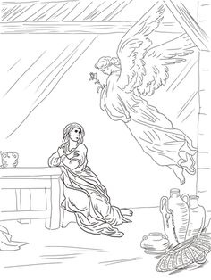 Angel Gabriel Visits Mary coloring page from Misc. Artists category. Select from 24104 printable crafts of cartoons, nature, animals, Bible and many more.