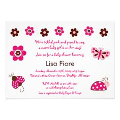 Shop Ladybug Butterfly Custom Baby Shower Invitations created by little_prints. Garden Baby Showers, Custom Baby Shower Invitations, Ladybug, Cute Babies, Place Card Holders, Butterfly, Birthday, Berry, Cards
