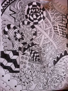 Zentangle - This is the largest tangle that I've done and my first real experimentation with shading.