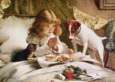 Vintage art print of child & Jack Russell Terrier