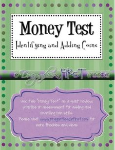 This tooth driven mini-writing activity FREEBIE includes 2 planning, pre-write rough draft pages and a final draft page and cover.Please visit . 1st Grade Science, Fourth Grade Math, Teaching Money, Teaching Math, Teaching Ideas, Math Resources, Math Activities, Math Games, School Fun