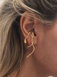 Snake ear cuffgold ear cuffsnake ear piecegold snake | Etsy