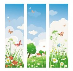 vector banners with sunny spring butterfly background