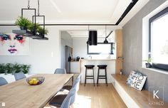 Salon połączony z jadalnią i otwartą kuchnią - zdjęcie od Katrilo Projektowanie wnętrz - Jadalnia - Styl Nowoczesny - Katrilo Projektowanie wnętrz