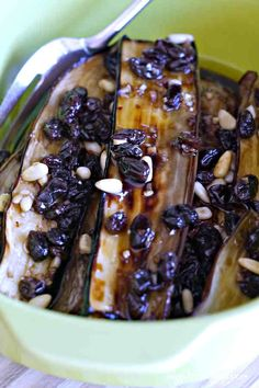 This recipe is best to make a day in advance, to let all the flavours infuse the eggplant. This Mediterranean gem is a beautiful addition when serving small plates. Gluten Free Recipes, Gourmet Recipes, Vegan Recipes, Delicious Recipes, Grape Pie, Braised Kale, Eggplant Recipes, Cooking Light, Vegan Dishes