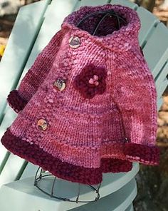 Baby + Toddler Tiered Coat and Jacket by Lisa Chemery malabrigo Chunky, Damask Rose and Pagoda colors Knitting For Kids, Baby Knitting Patterns, Loom Knitting, Crochet Baby Jacket, Knit Crochet, Pull Bebe, Baby Coat, Jacket Pattern, Baby Sweaters
