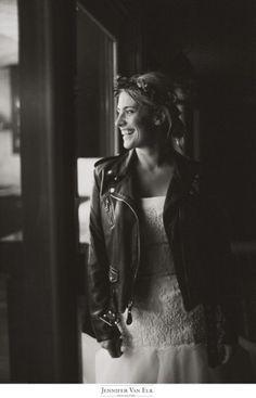 Rainy Outdoor Wedding | Elkhart, IN | Ashley Johns #leather #wedding #dress #bride