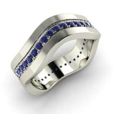 Round Black Diamond Wedding Ring Ring in White Gold Black Diamond Wedding Rings, Ruby Wedding Rings, Black Diamond Jewelry, Curved Wedding Band, White Gold Jewelry, Diamond Gemstone, Wedding Bands, Sapphire Wedding, Blue Sapphire