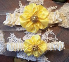 Wedding Garter in Yellow and Ivory with by AllAHeartDesires, $44.00