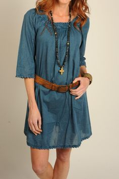 The lightweight cotton fabric and feminine details can be worn as a dress or tunic belted or not and is the perfect dress for warm summer days!  Teal 3/4 Dress by Uncle Frank. Clothing - Dresses Dallas Texas
