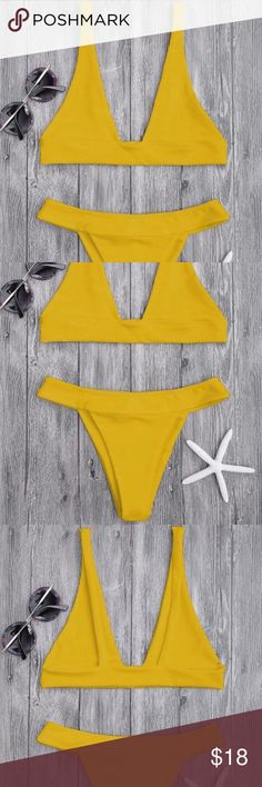 Plunge Bikini Top And High Cut Bottoms - Ginger S Solid basic bathing suit featuring triangle-shaped lined pullover style bikini top and high cut thong swim bottoms, non-padded. **New with tags and in original bag  Bought online from Zaful but is a little too big onthe top (I'm a size 32A) it will look good with bigger bust size.  Don't feel like returning bc I've never used this site b4 so I rather resell. zaful Swim Bikinis