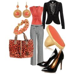 Business Casual gray and coral
