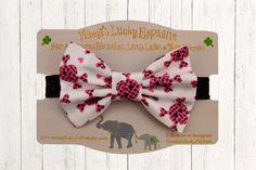 Halloween Fabric Bow Headband, Fabric Bow Clip-on || Pink and Black Punk Skulls White Fabric Bow-Black Sparkle Elastic Band or Clip Mounted by mamasluckyelephant on Etsy