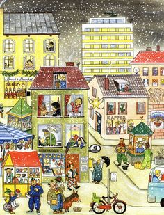 'Winter-Wimmelbuch' written and illustrated by Rotraut Susanne Berner (art, children's illustrations) Picture Comprehension, Picture Writing Prompts, Hidden Pictures, Illustrator, Cartoon Pics, How To Speak Spanish, Teaching Spanish, Educational Activities, Speech And Language