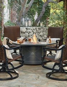 Warm your outdoor space with the flickering light of a custom gas fire table. Customize your table by selecting your favorite round or hexagonal porcelain tile top and an all-weather, cast-aluminum base. Each beautiful porcelain tile top provides plenty of space for the burner as well as drinks and appetizers.