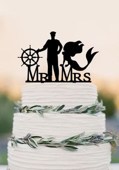 Mermaid and Captain Cake Topper with compass Mr and Mrs wedding cake t – DokkiDesign