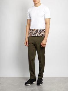 Marni Animal-printed panel cotton T-shirt