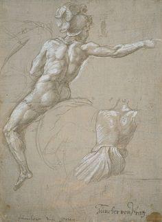 Raphael (Raffaello Sanzio), Italian, Study of a Horseman, Human Figure Drawing, Figure Sketching, Guy Drawing, Life Drawing, Painting & Drawing, Renaissance Kunst, High Renaissance, Renaissance Artists, Rennaissance Art