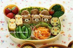 Bear, chick, onigiri, rice balls, bento, boxed lunch; Anime Food