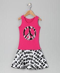 Playdate Couture Hot Pink Zebra Peace Sign Dress - Toddler & Girls | zulily