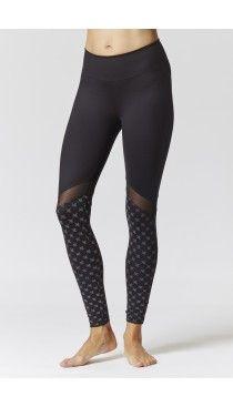 Black-Print Reflective Lower Leg Running Leggings | Ladies Sportswear |  Womens Gymwear