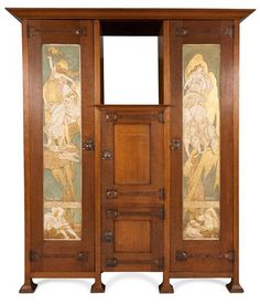 ART NOUVEAU OAK AND INLAID WARDROBE, CIRCA 1900, Panels bear verses from 'Verses for Pictures' from 'Poems by the Way' by William Morris; 'Night' and 'Day' and are signed Alfred R. Martin. 186cm wide, 214cm high, 59cm deep   SOLD for £3,125 Nov. 13, 2013