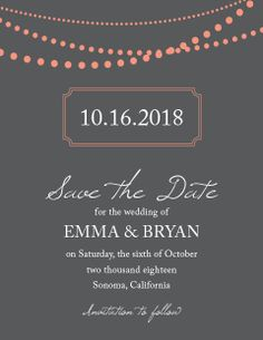 The Fully Customizable String Lights Save the Date Cards comes in over 160 colors.
