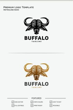 Buffalo LogoMinimalist unique Construction logo concept, perfect for sports, entertainment, financial industry, also You can use it for many creative business Buffalo Tattoo, Buffalo Logo, Buffalo Art, Star Tattoo Meaning, Dragon Tattoo Meaning, Star Tattoos, Tribal Tattoos, Tattoo Themes, Construction Logo