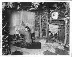 """A beautiful old photograph of a Navajo mother and daughter weaving from 1908.  From the Facebook page """"Native American Indian - Old Photos"""" which is well worth a visit ! https://www.facebook.com/pages/Native-American-Indian-Old-Photos/10150102703945578"""