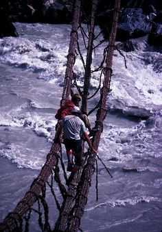 Braldu River Crossing, Pakistan  the sides of the bridge actually draw together as weight is applied to it