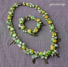 jewelry handmade necklace bracelet berries crackle biżuteria rękodzieło naszyjnik bransoletka jagódki grono ручная_работа ожерелье браслет ягоды гроздь