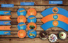 Banderitas para adorno. #Toppers (circulos) para usar con palitos brochette. Etiquetas #wrappers para #cupcakes #wheels #autos #nene #comida #fiesta #kit #varon #kitcumple #diseños