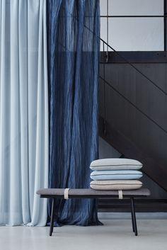 "Création Baumann presents the ""Cotton & Stories"" Collection Curtain Fabric, Curtains, Drapery, Multipurpose Furniture, Print Design, Armchair, Presents, Colours, Blue Pillows"