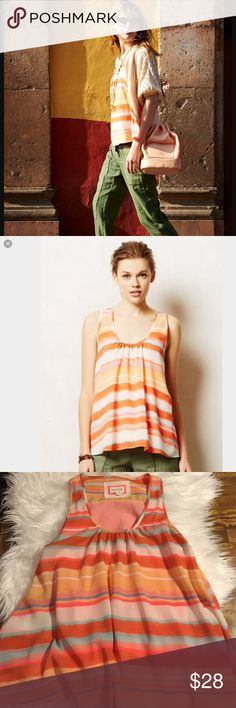 REMOVING 10/10👣Anthropologie Meadow Rue merlon Melon colored and ready for summer! Cheery stripes, a Split back with built in tank underneath. By meadow rue, size small. Excellent like new condition. Anthropologie Tops Tank Tops