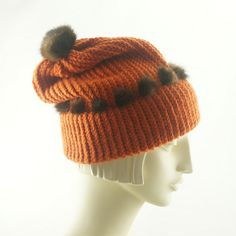 Pumpkin BEANIE Hat For Women / Orange Knit Cap by TheMillineryShop