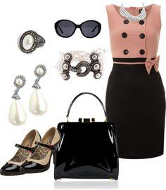 """Blush and Black Jackie O Dress"" by fashion-faux-pas on Polyvore"